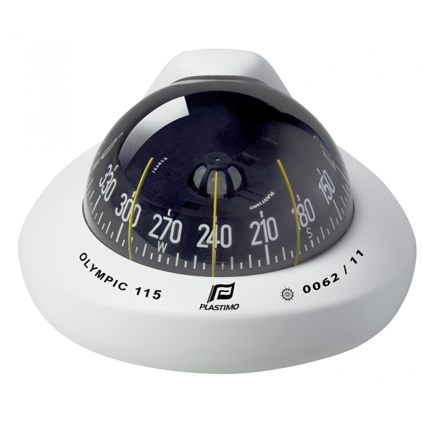 Plastimo Olympic 115 Compass White - Black Conical Card - Horizontal Tilted Mount