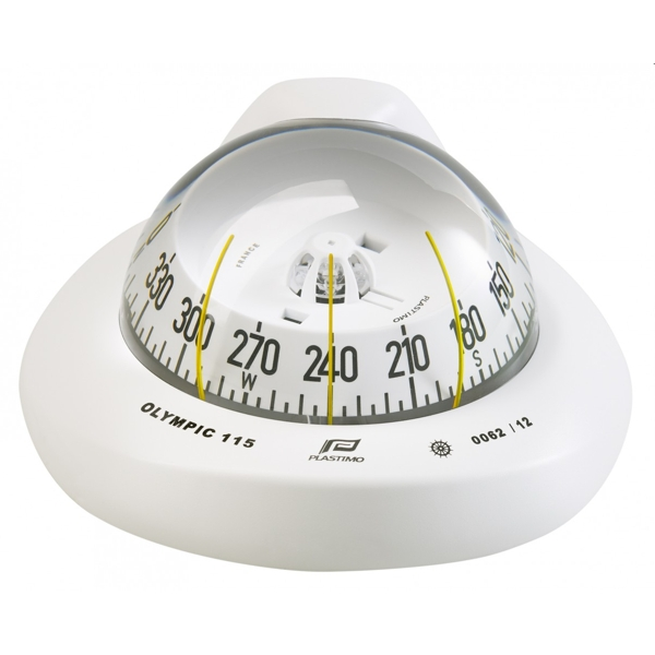 Plastimo Olympic 115 Compass White - White Conical Card - Horizontal Mount