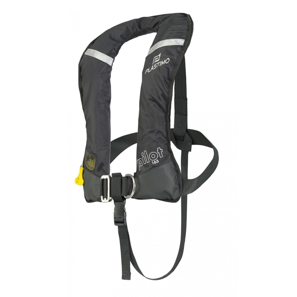 Plastimo Pilot 165 Lifejacket Black Automatic Pro-Sensor with Crutch Strap & Harness
