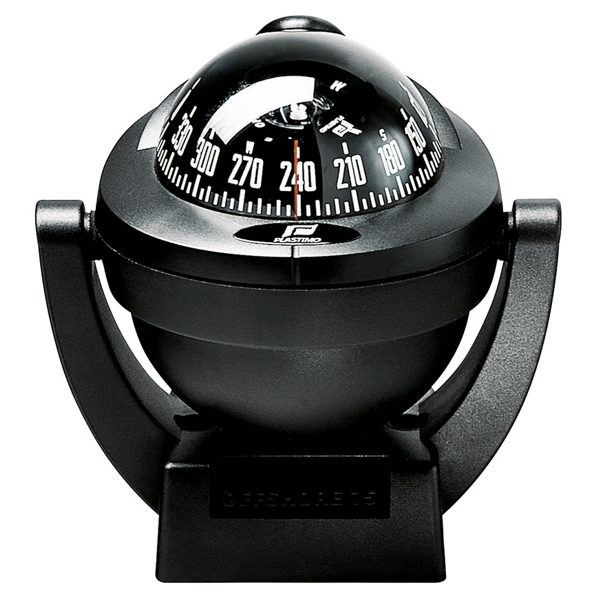Plastimo Offshore 75 Compass Black - Black Card. Bracket Mount