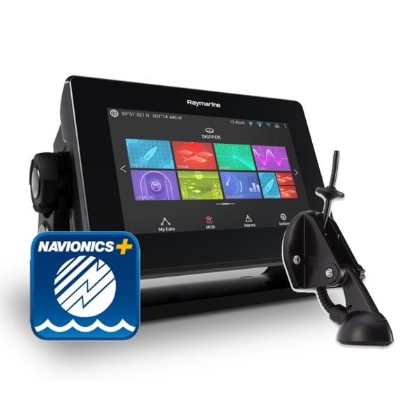 Raymarine Axiom 7 DV - 7 Inch Multi Function Display With DownVision 600W Sounder With CPT-S Chirp TR + Sm Nav+ Chart