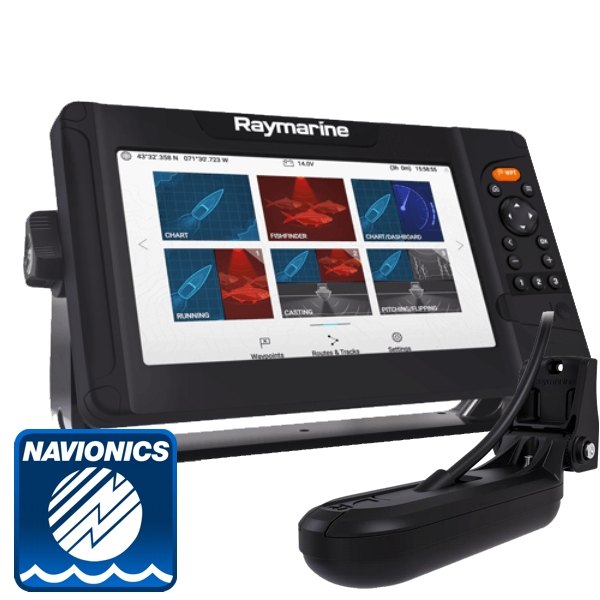 Raymarine Element 9 HV w/ HV-100 Transom Transducer With Navionics PLUS Small Chart