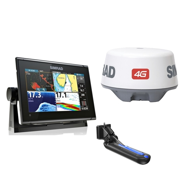 Simrad GO9 XSE TotalScan 9Inch Multi-touch Chart Plotter With TotalScan TR PLUS 4G Radar Bundle Pack