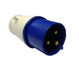 Waveline Industrial Plug 16A 220-250VAC 2P+E IP44 Blue