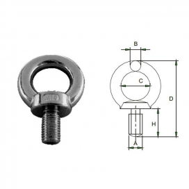 Waveline DIN580 eye bolt AISI316 casted M6