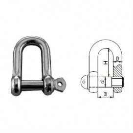 Waveline Dee Shackle - Hot Dip Galvanised 14mm