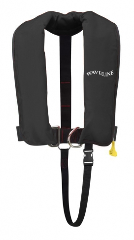 Waveline 165N ISO Black Auto Harness LifeJacket With Crutch Strap