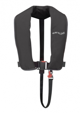 Waveline 165N ISO Black Manual LifeJacket With Crutch Strap